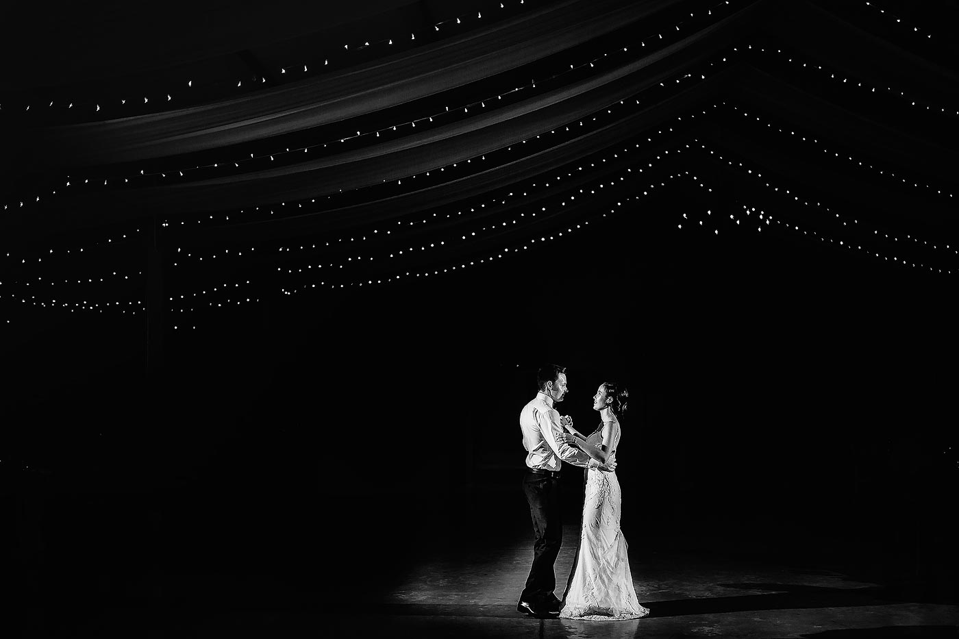 Formal first dance with fairy lights and mood