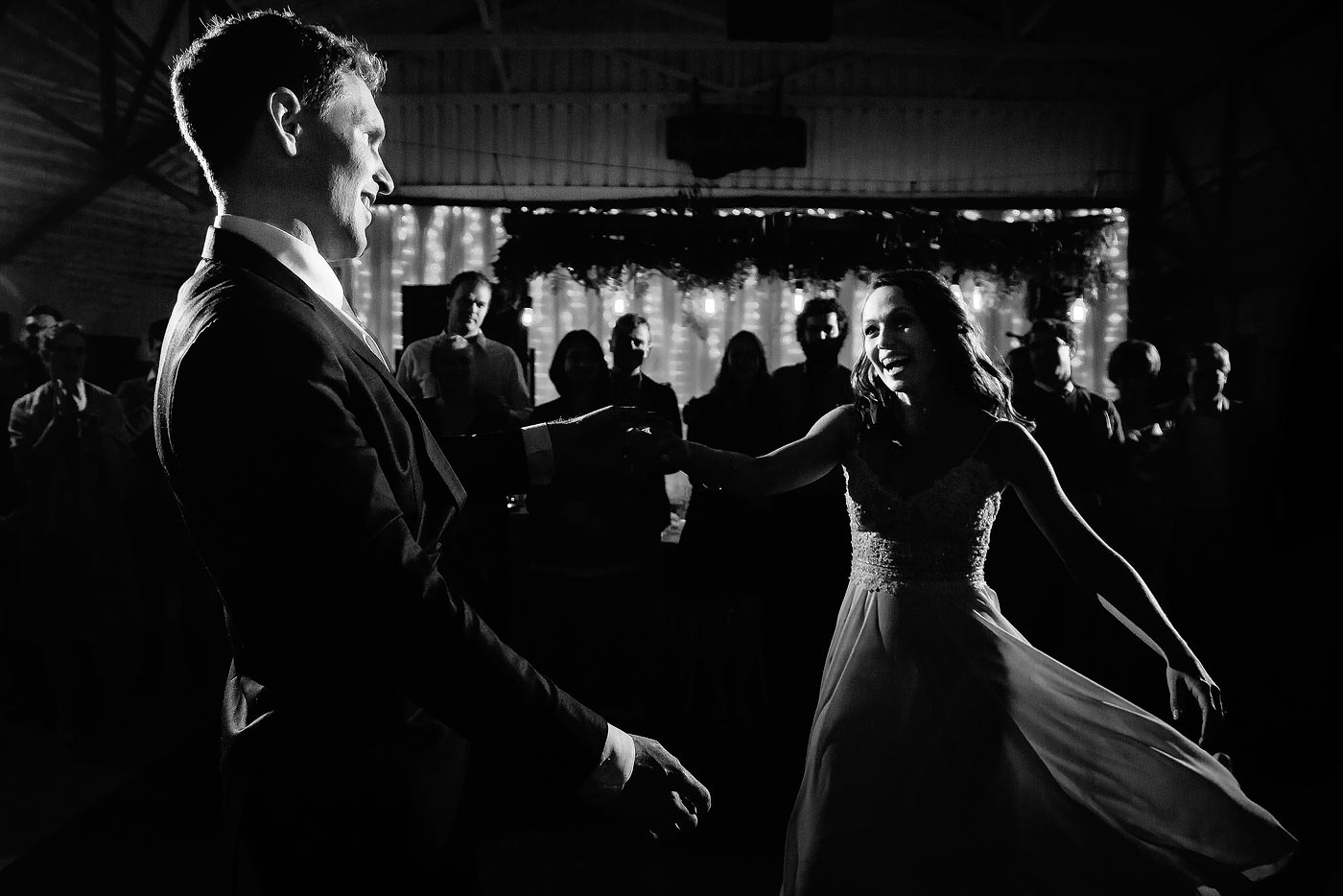 Fun Creative First Dance with fairy lights