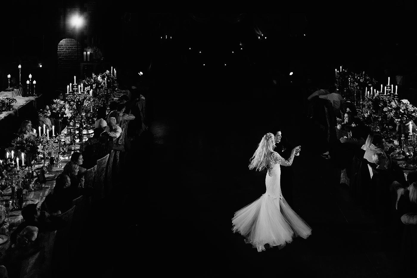 Elegant wedding first dance in castle wedding venue