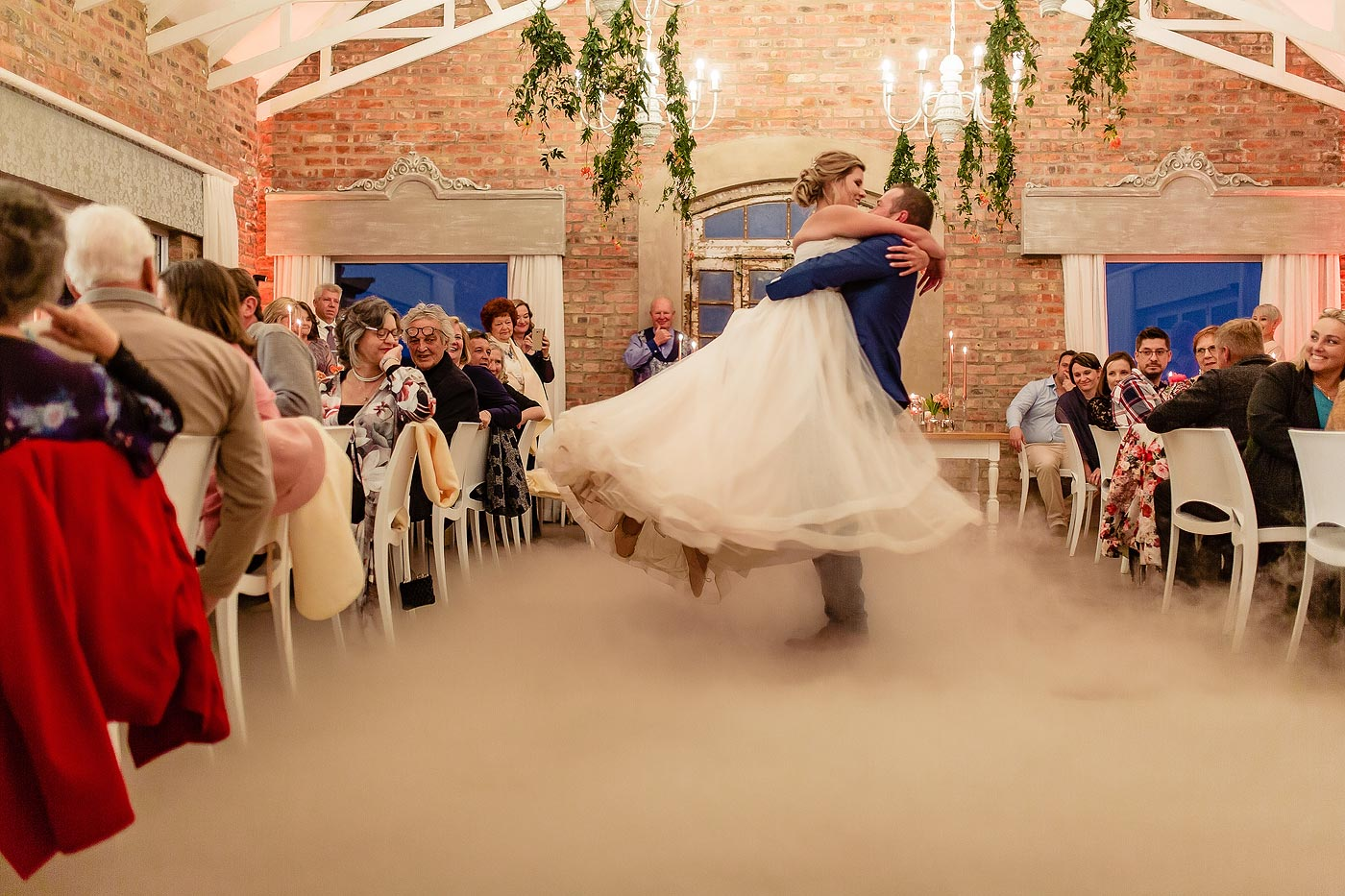 Smoke machine on the dancefloor during the wedding first dance in the Garden Route, South Africa.