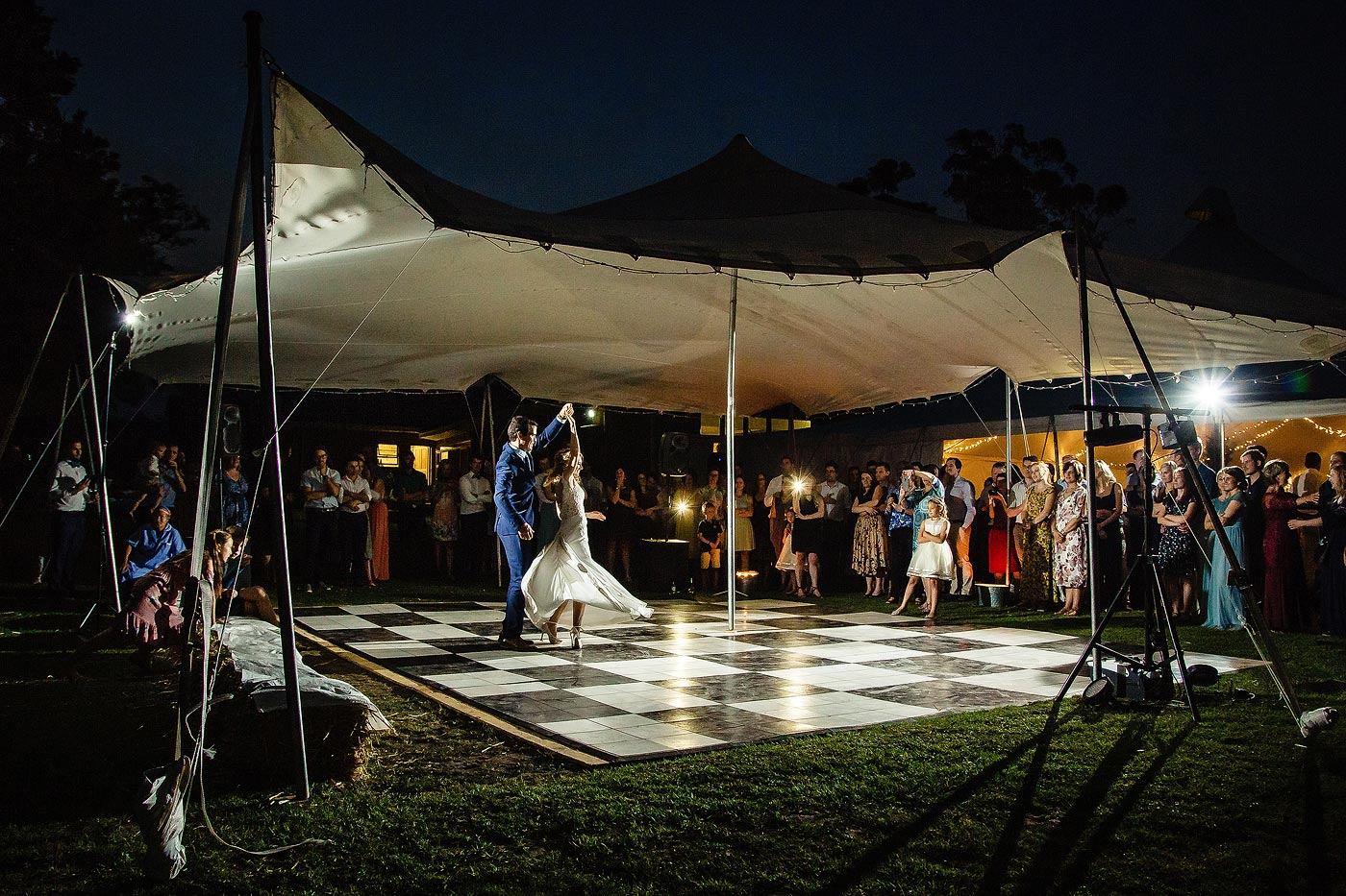 Outdoor first dance during a western cape wedding with stretch tent.