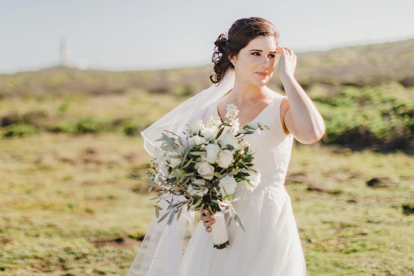 Copy of Classic Bridal Portraits with bouquet and wedding veil in the Western Cap of South Africa.