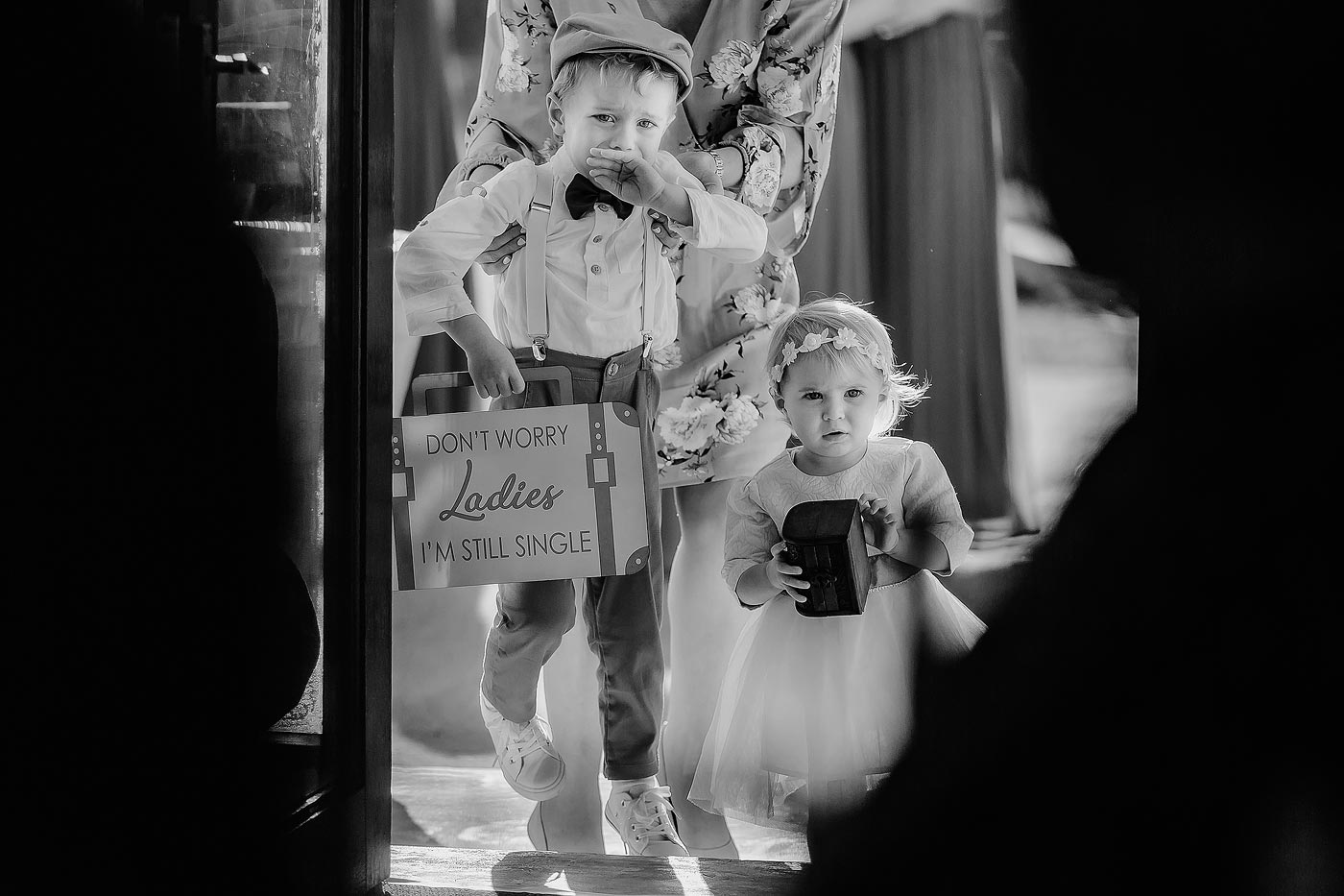 Copy of Emotional Moment with flower girl and ringbearer before wedding ceremony in South Africa.