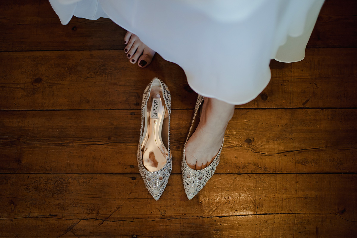 Bridal Wedding Shoes with intricate wedding details