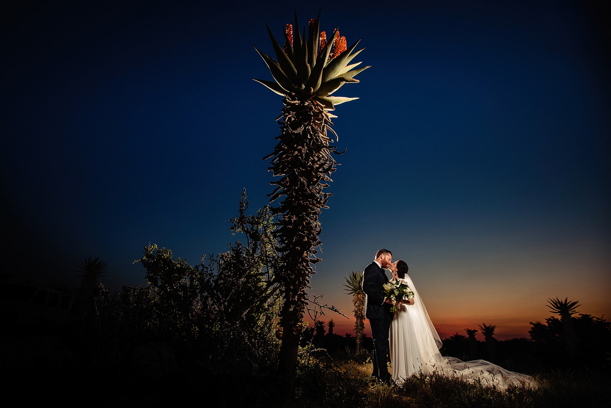 Evening portraits at Night with bride and groom at wedding in Eastern Cape