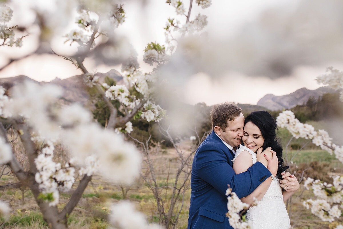 Wedding Photo in Spring Blossom Orchard
