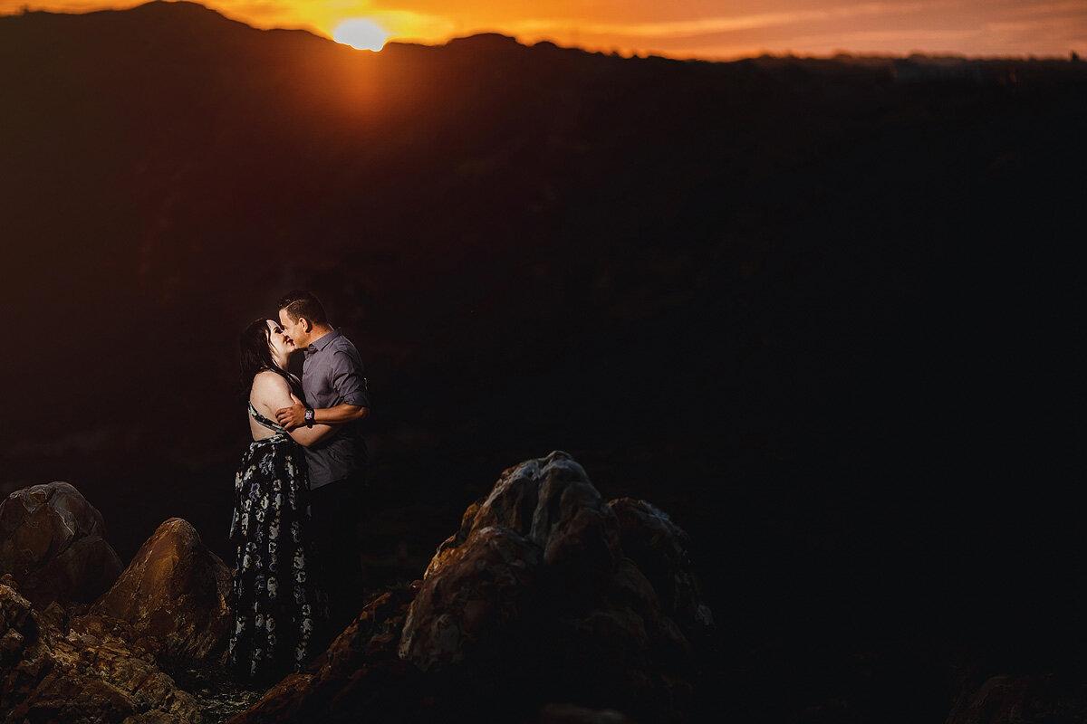 Sunset beach couple engagement shoot