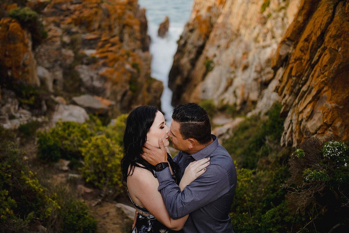 Creative couple engagement portrait