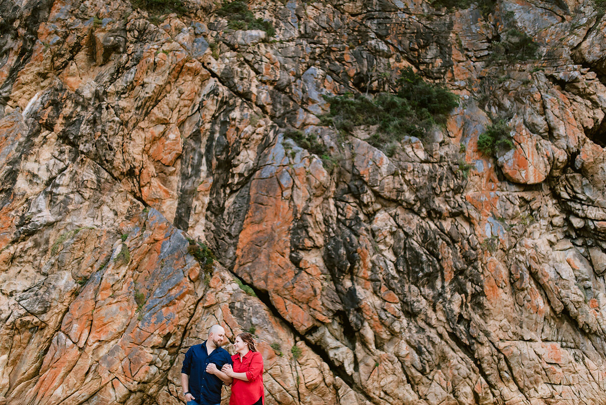 Elegant couple portraits on a beach in the Garden Route
