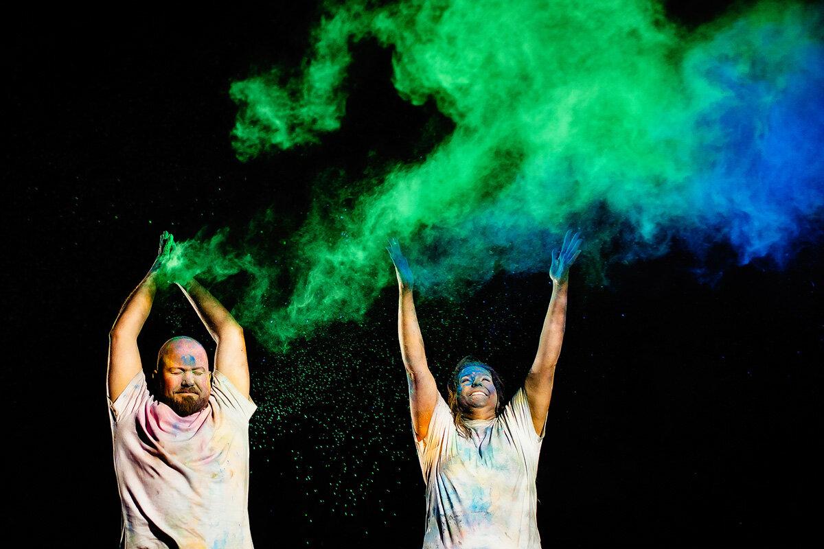 Fun colourfull powder paint engagement couple photo