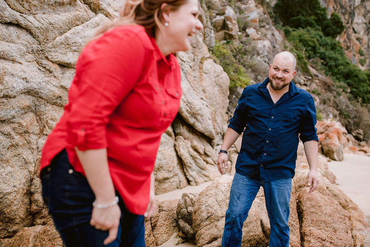 Funny moment between the couple during their engagement shoot