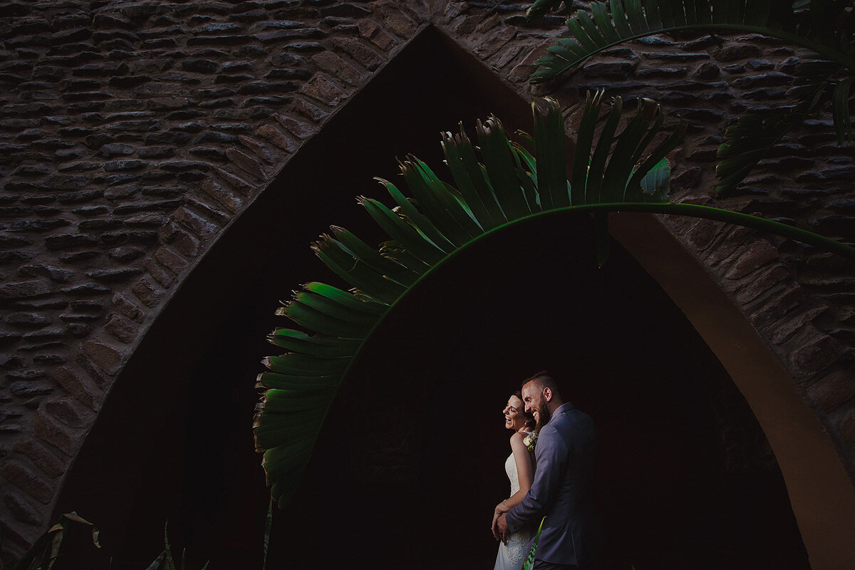 Wedding Couple Portraits in a castle wedding venue in Namibia