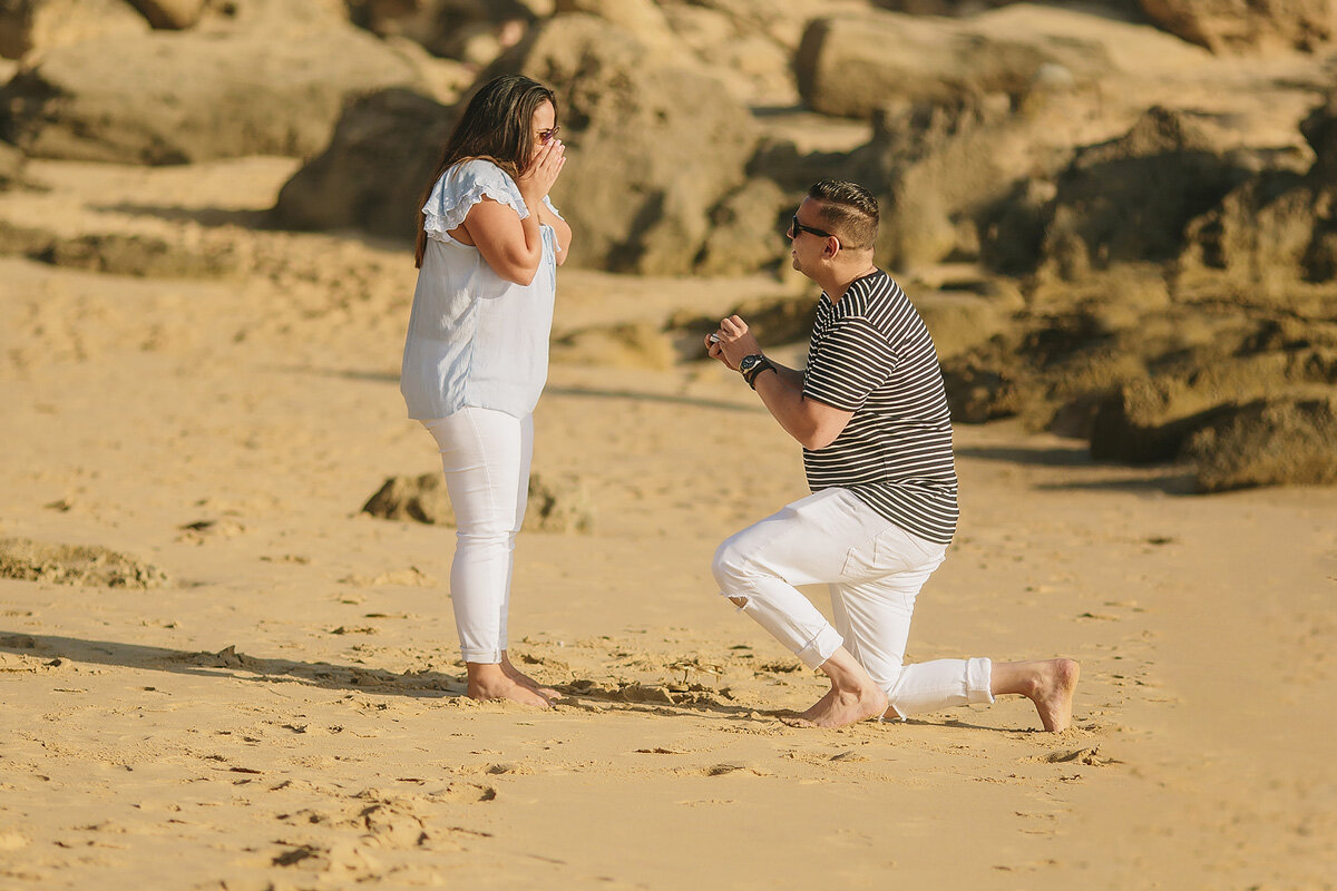 Asking the question, a real Life Beach Engagement Idea in the Garden Route.