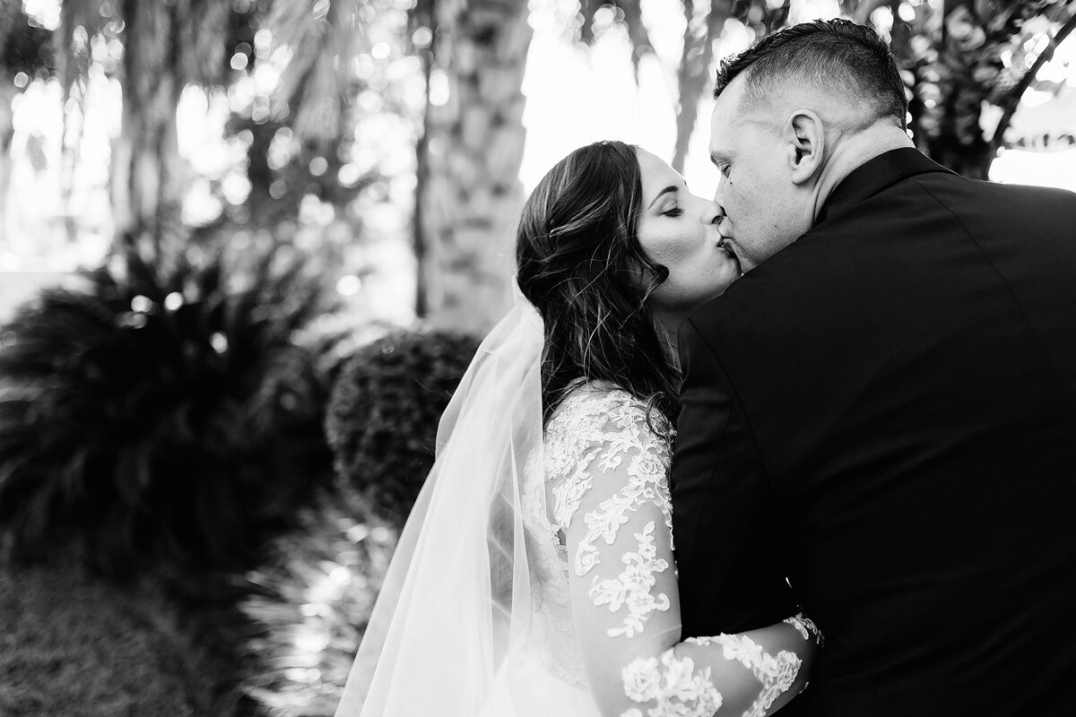 Bride and groom romantic kiss in Upington