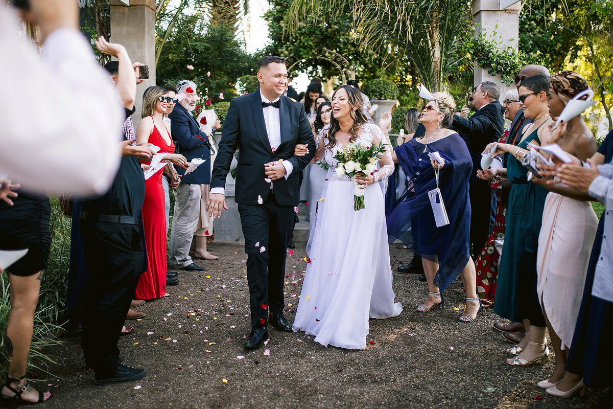 Wedding Confetti Celebration with Bride and groom in Upington, Northern Cape.