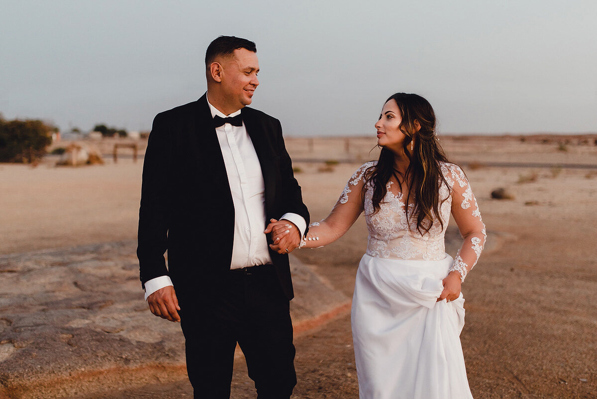 Bride and groom informal photograph in Northern Cape South AFrica.