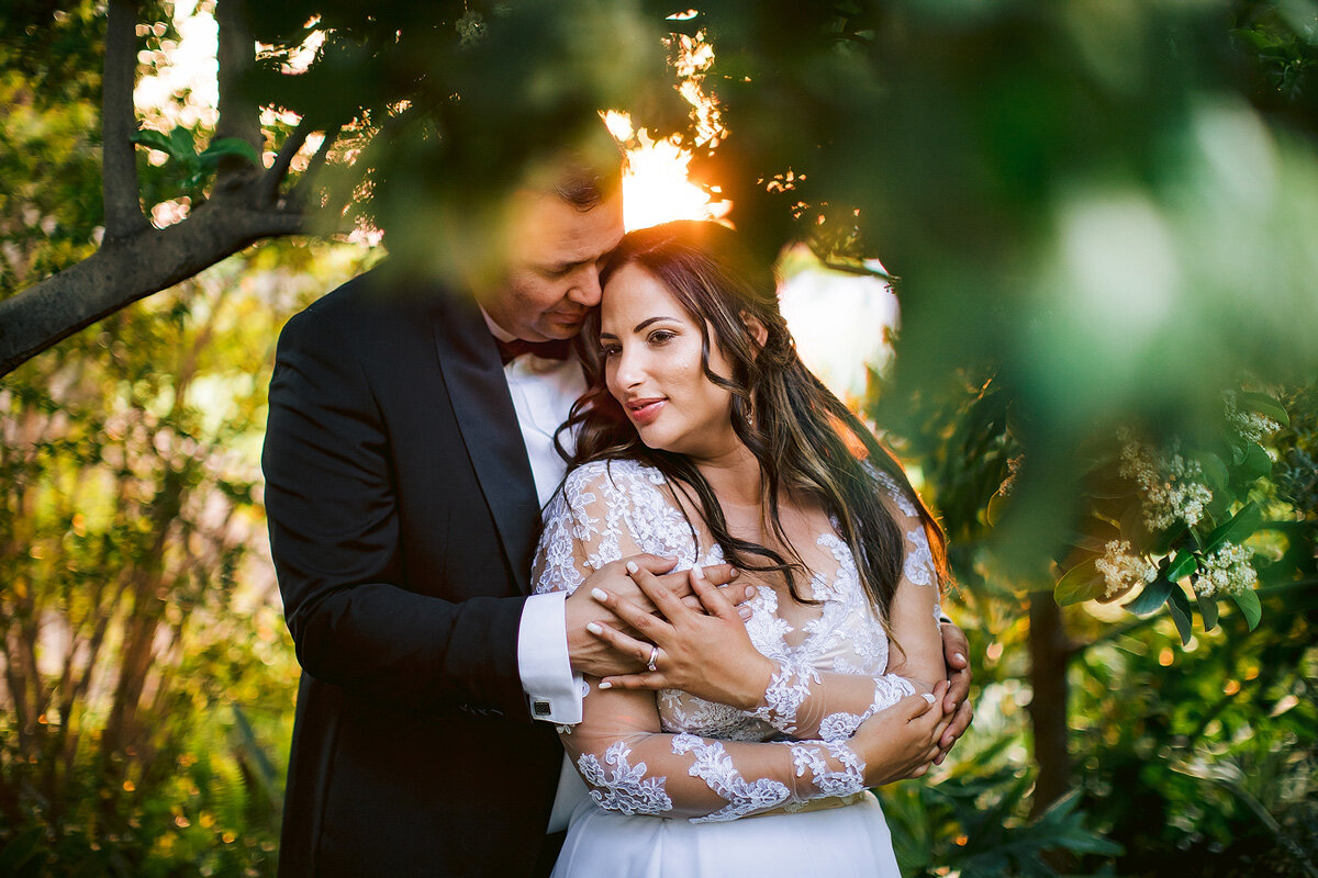 Sunset Romantic wedding couple portraits with bride and groom in Upington.