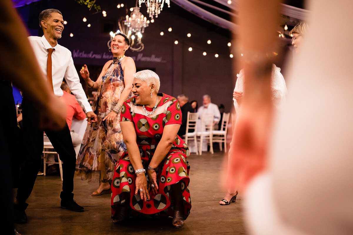 Guests partying on the dance floor at a wedding in the Northern Cape of South Africa.