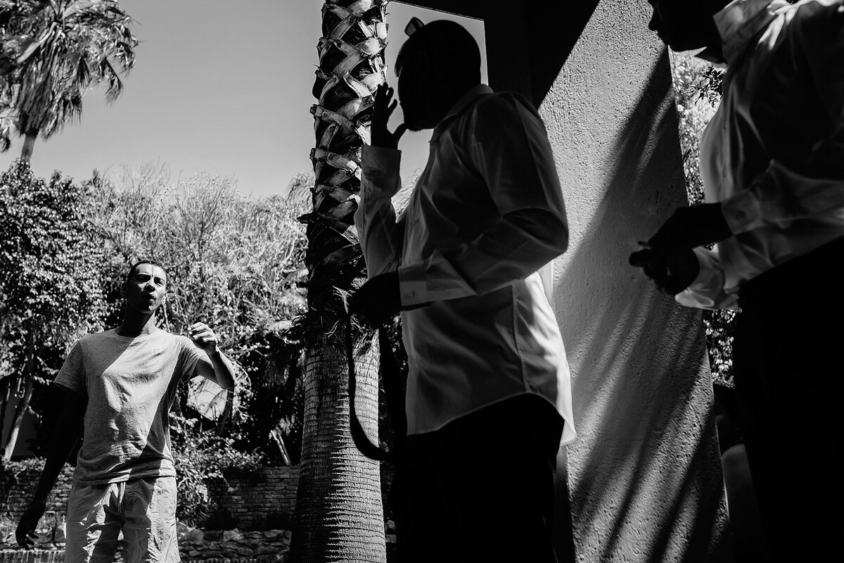 Wedding Storytelling image with the groom and groomsmen in Upington, Northern Cape.