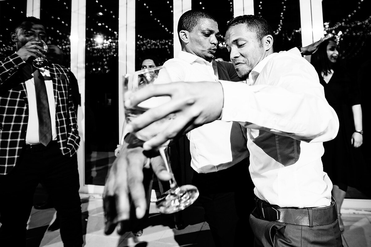 Guests dancing and having fun on the dancefloor during a northern cape wedding.