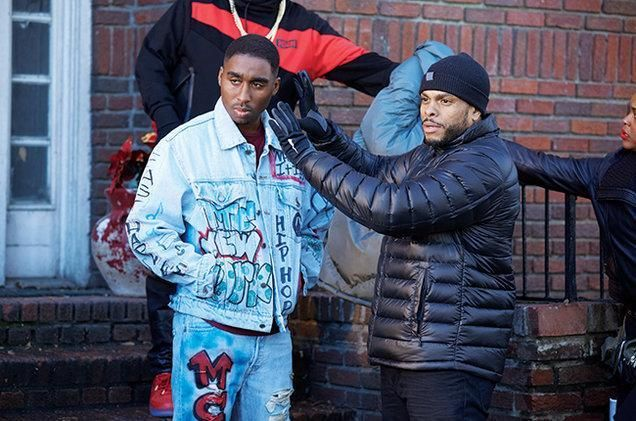 Demetrius on set  as young Tupac along side Director Benny Boom