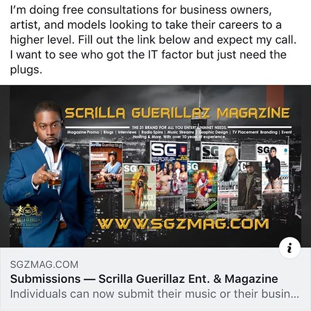Having issues your you business, projects or business service. #entrepreneurs of #2019 let's talk. SG magazine owner Daze will be doing 1 on 1 calls with all those looking to take their business, music or product to the next level. Fill the form out in bio and expect a direct call from him. #business #bigbusiness #youngmoguls lett y'all business and numbers.