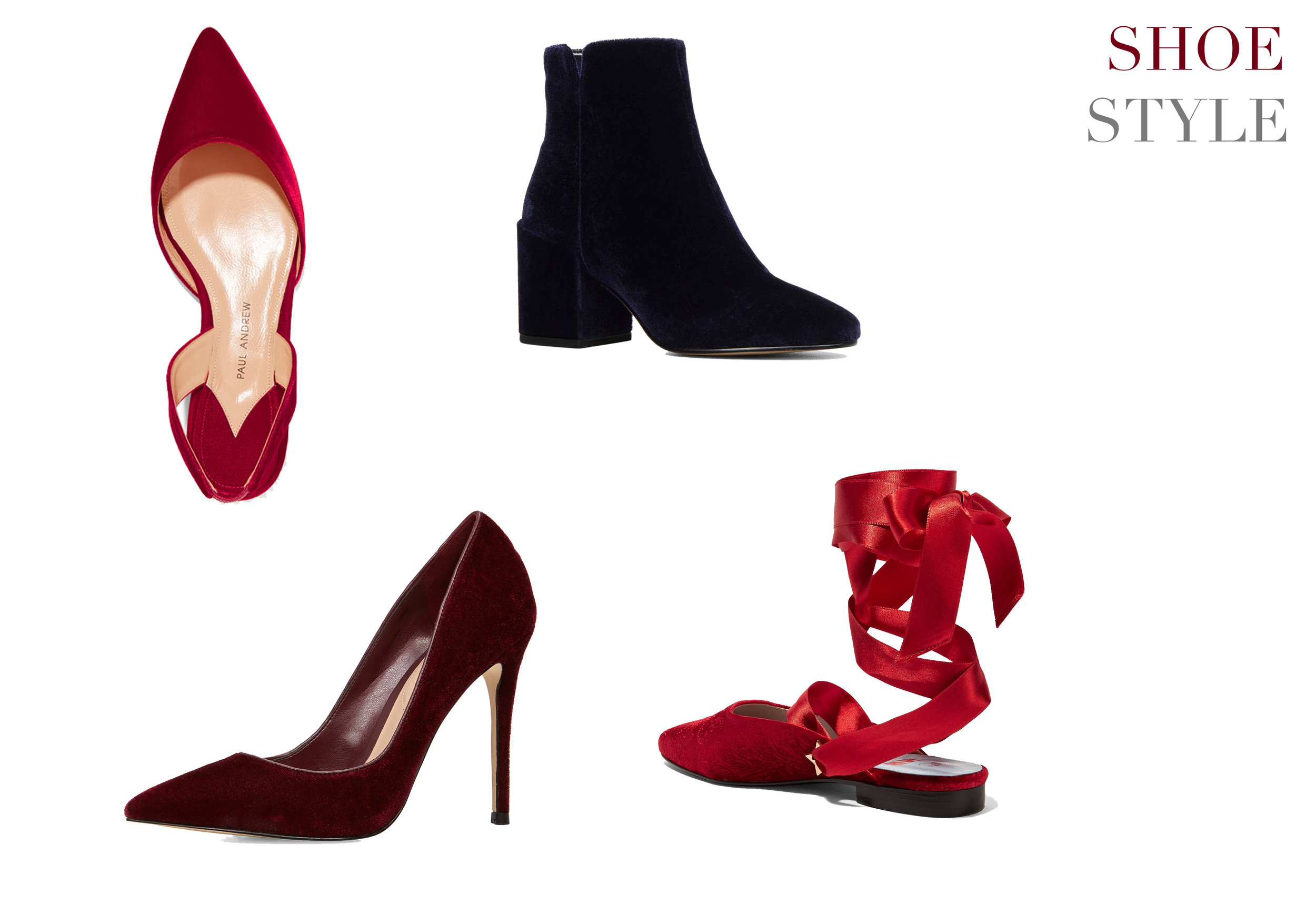 A velvet flat, pump or boot can add newness to your holiday look.   Red Kitten Heel    Blue Sully Boot    Burgundy Pump    MR Man Repeller Lace up Flat