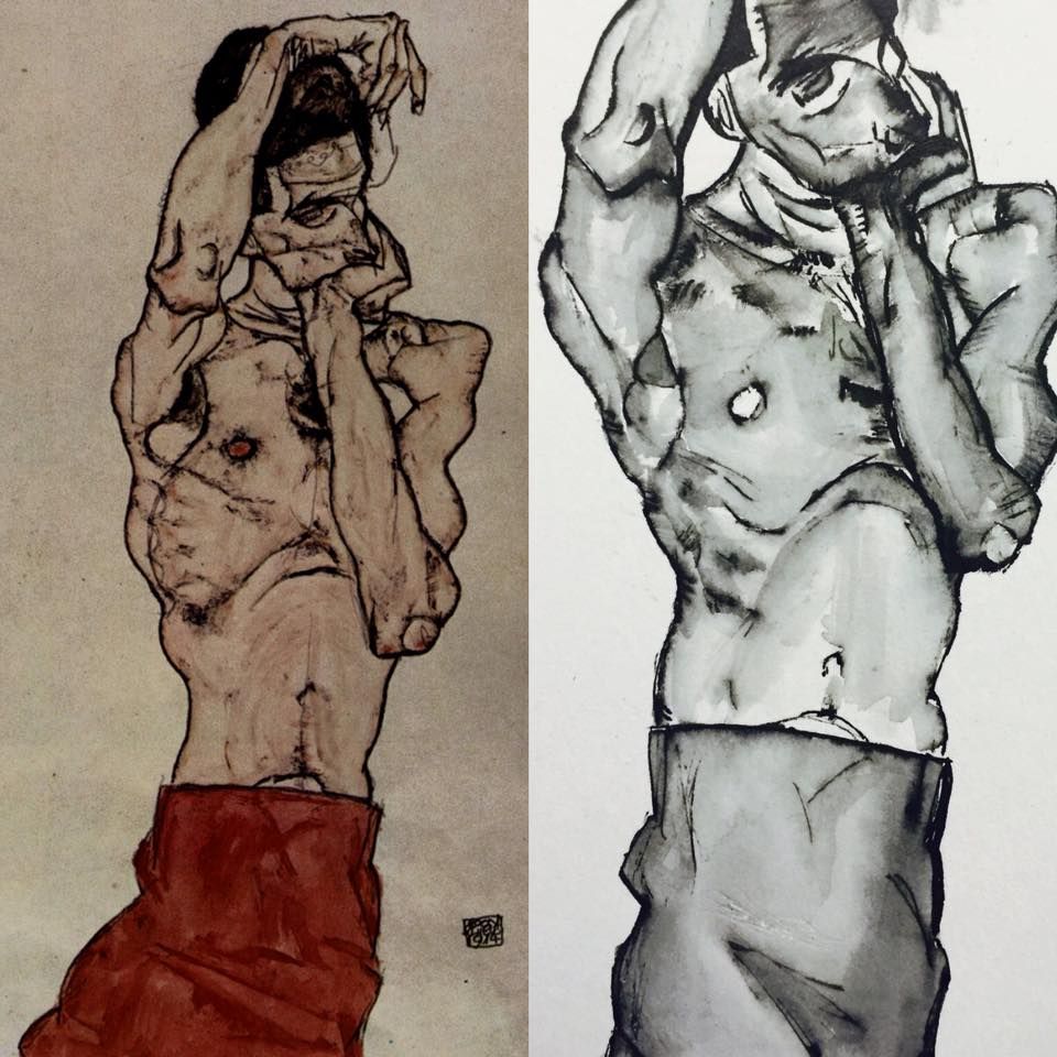 Sketches of Schiele's work