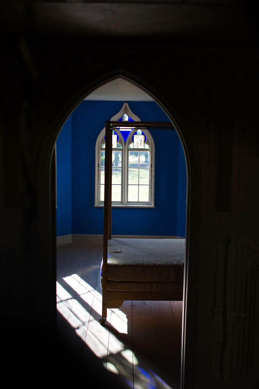 The Blue Bedchamber, Strawberry Hill House. Blue Verditer distemper on papered walls.