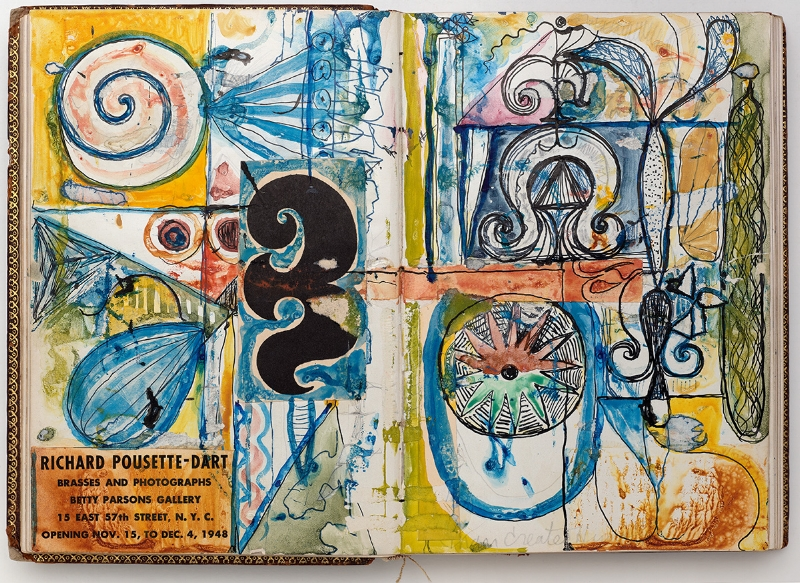 Richard Pousette-Dart,  Notebook B-114 (Knights of Pythias) , 1950s (with drawings from the early 1940s), artist's notebook, mixed media