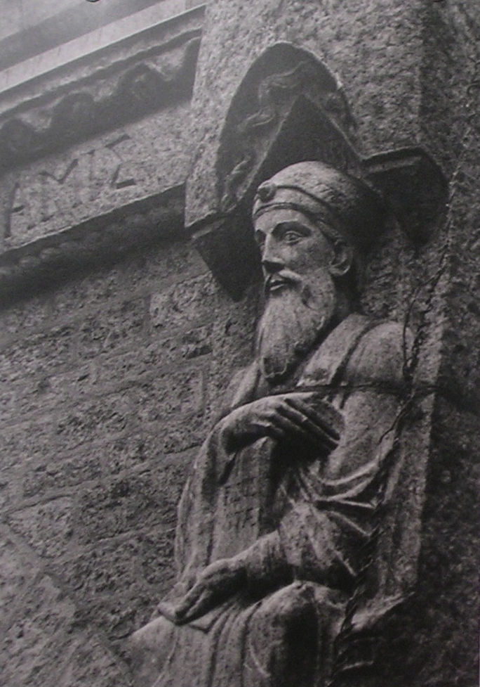 Sculpture of a prophet on the cathedral I worshipped at. Photograph taken by me, in high school art class.