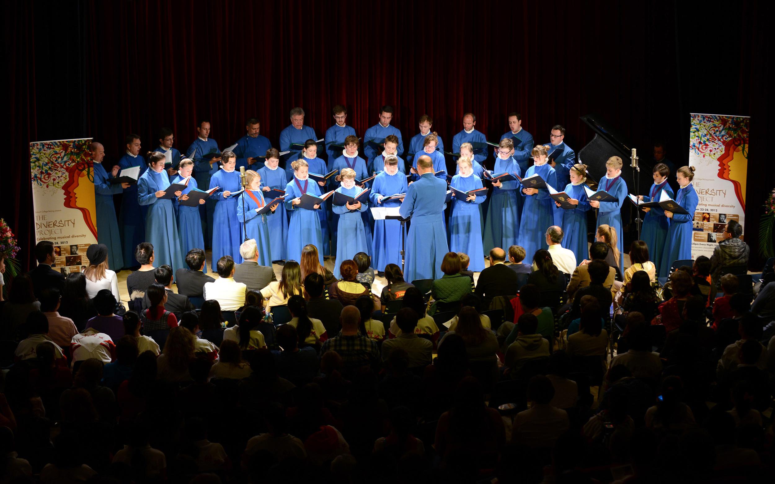 The choir performing in Beijing