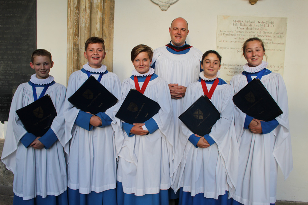 The new Head and Deputy Head Choristers with Matthew Owens