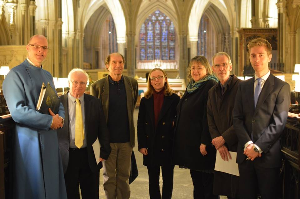 Matthew Owens (Organist and Master of the Choristers) with (from L-R) Philip Wilby, Lord Berkeley CBE, Rebecca Farthing (pupil at Wells Cathedral School), Judith Bingham (President of new music wells), Howard Skempton, and Jeremy Cole (Assistant Organist)