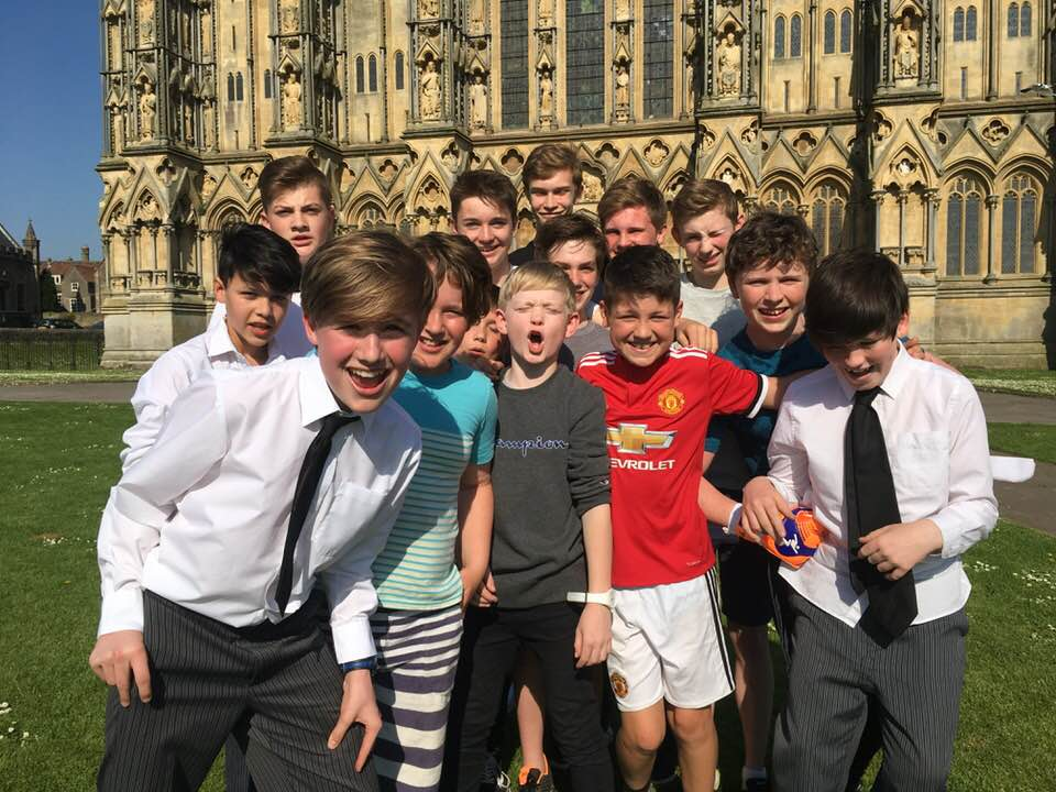 Following Taylor's final service last week, he and some of the boy choristers past and present celebrated outside the West Front  [Photo courtesy of Jacinth Latta]