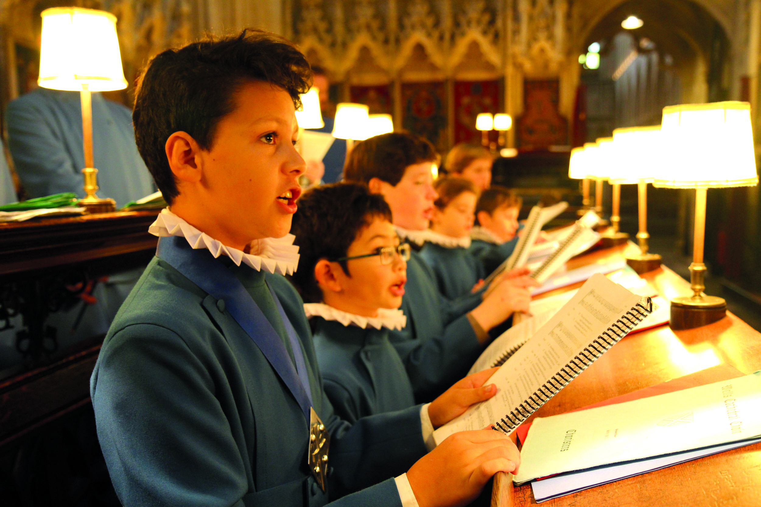 Singing in the beautiful historic stalls in the Quire