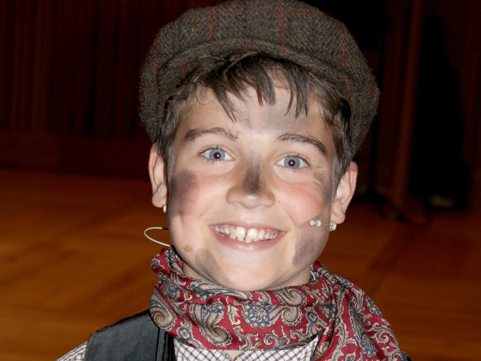 On the stage: chorister Will in the role of Bert in the school's production of Mary Poppins