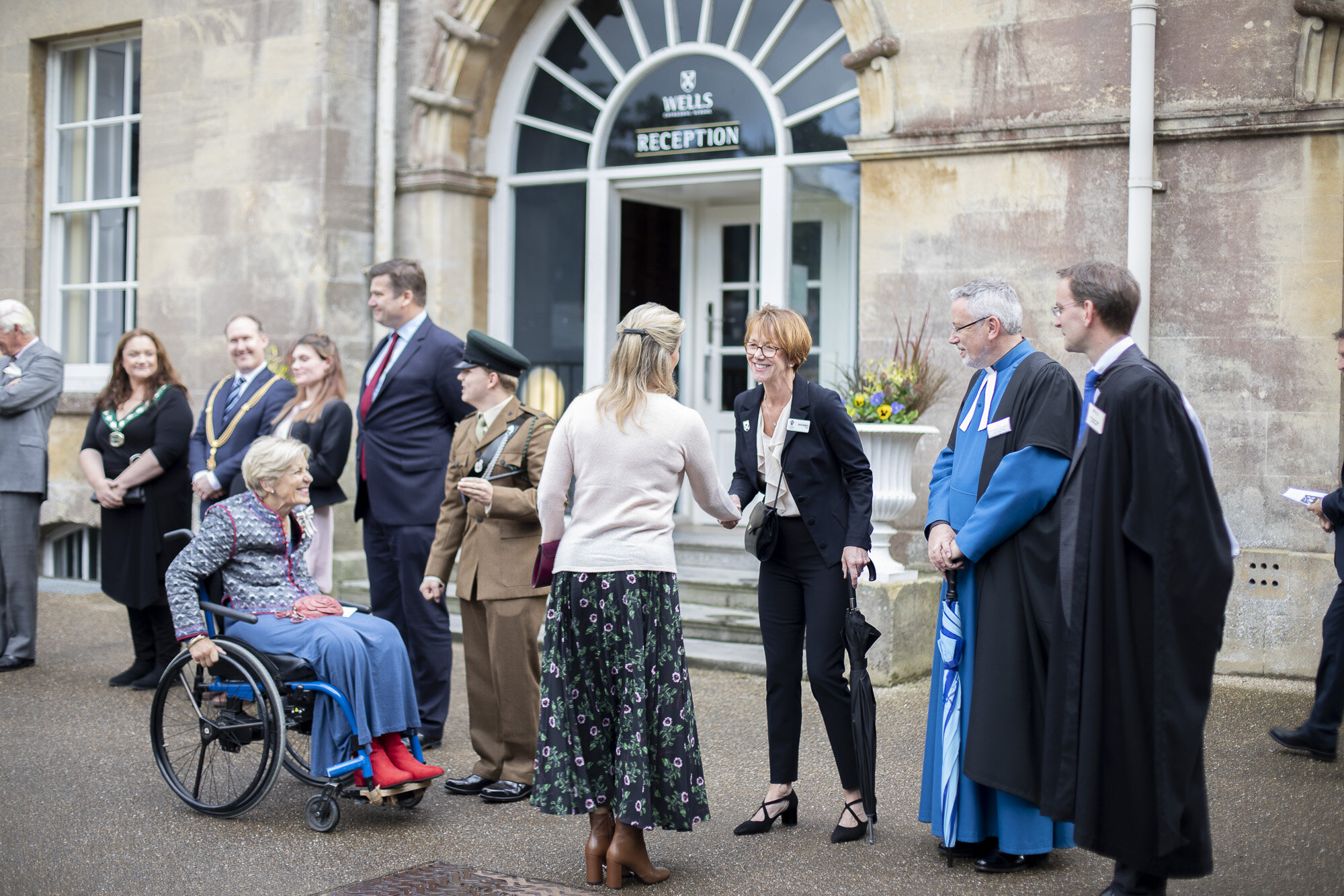 Her Royal Highness is welcomed by Dr Jenny Kingston, Chairman of Wells Cathedral Chorister Trust