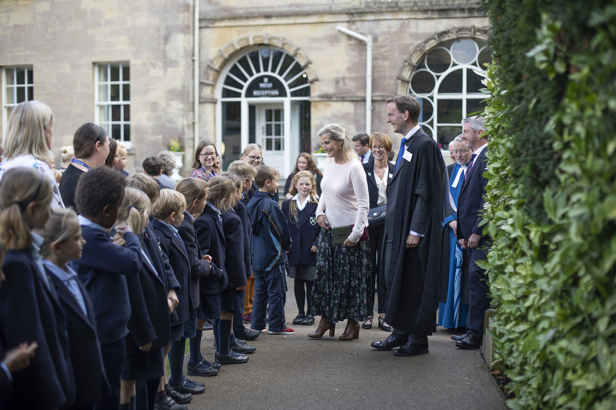 Pupils from the Cathedral Junior School greet the Countess