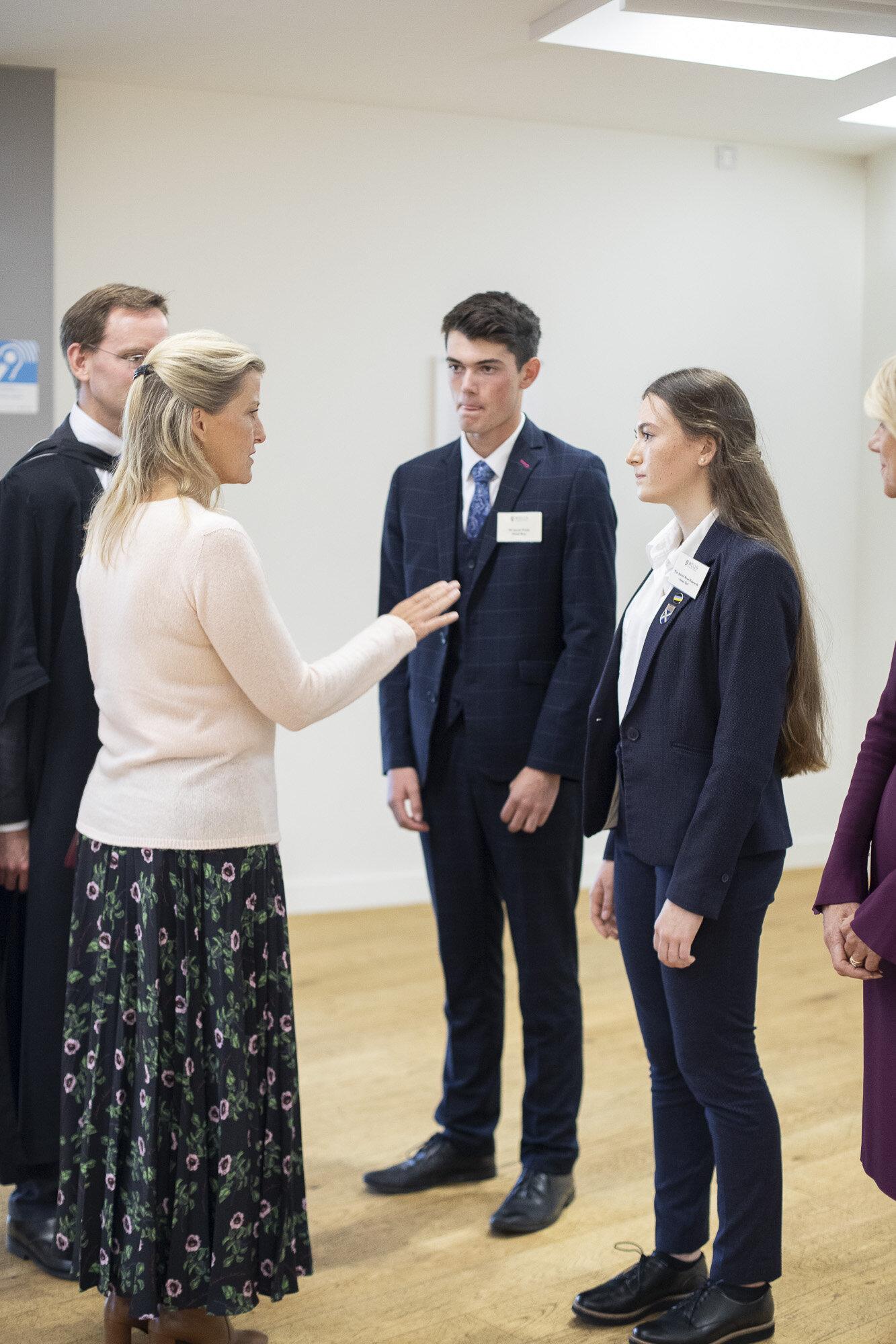 The Cathedral School's Head Boy, Jacob, and Head Girl, Astrid (a former Head Girl Chorister) meet HRH