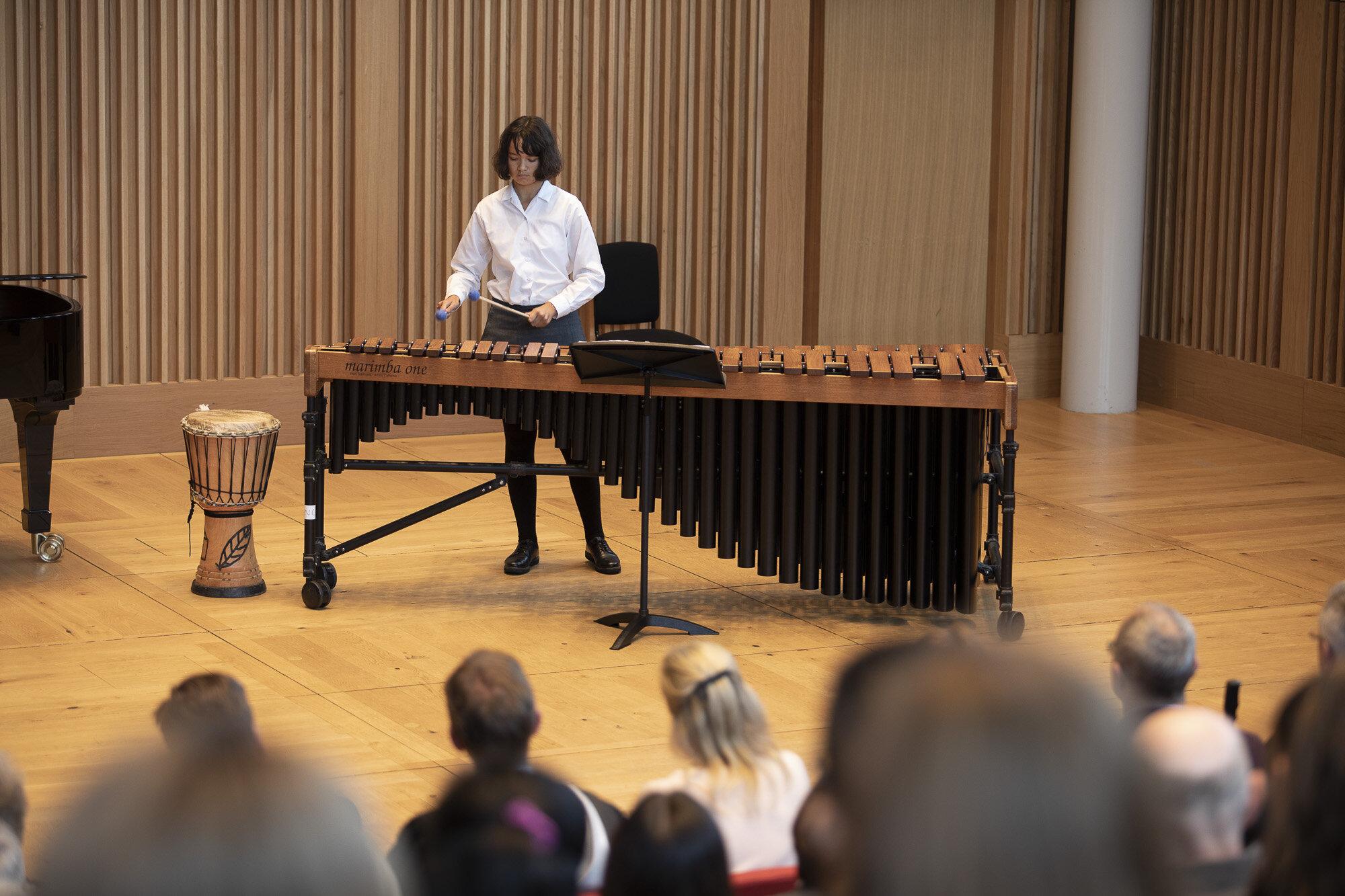 Chorister Sophie plays the marimba as part of the Royal Recital