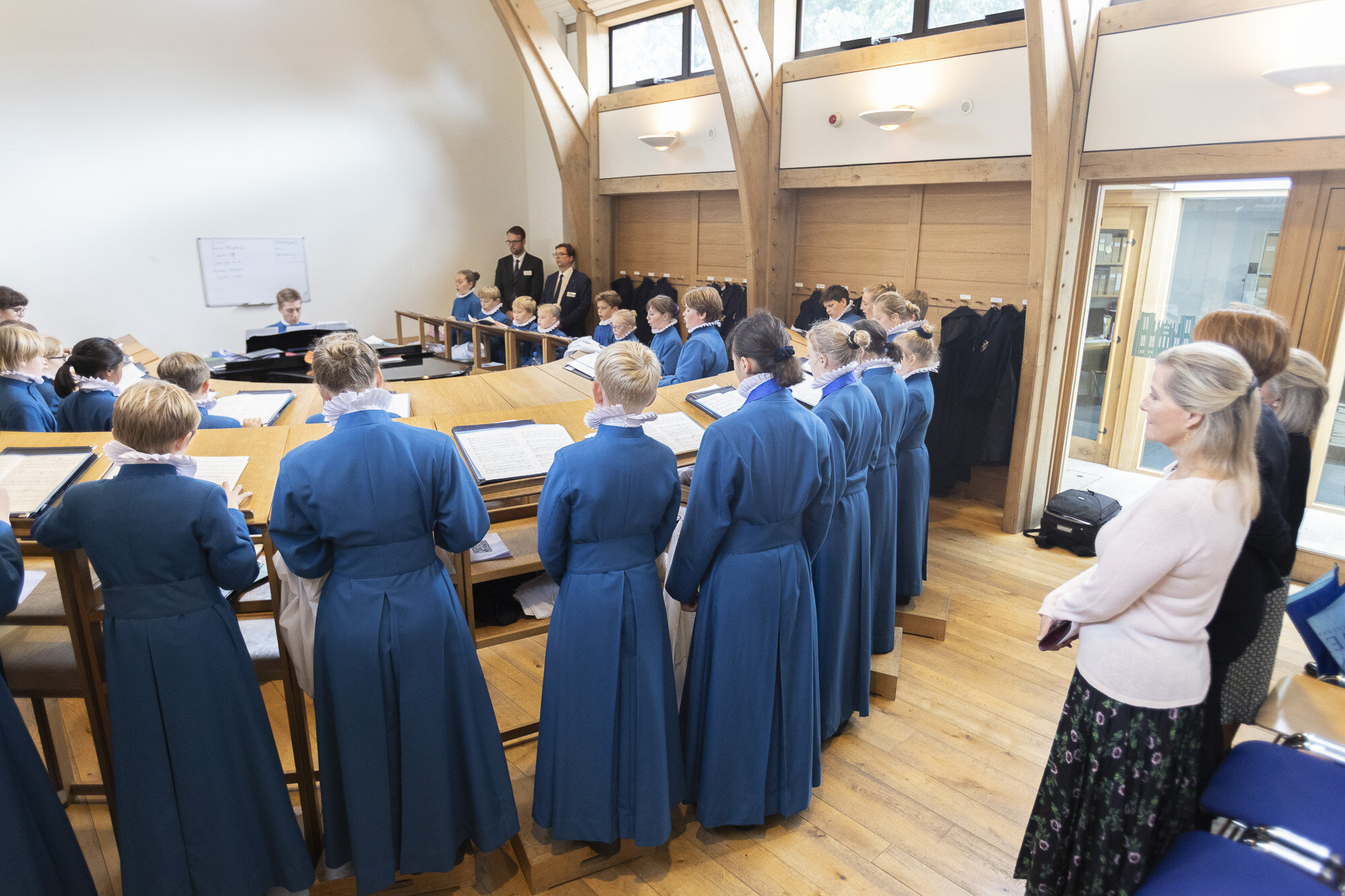 Her Highness listens to the choristers rehearsing for Choral Evensong