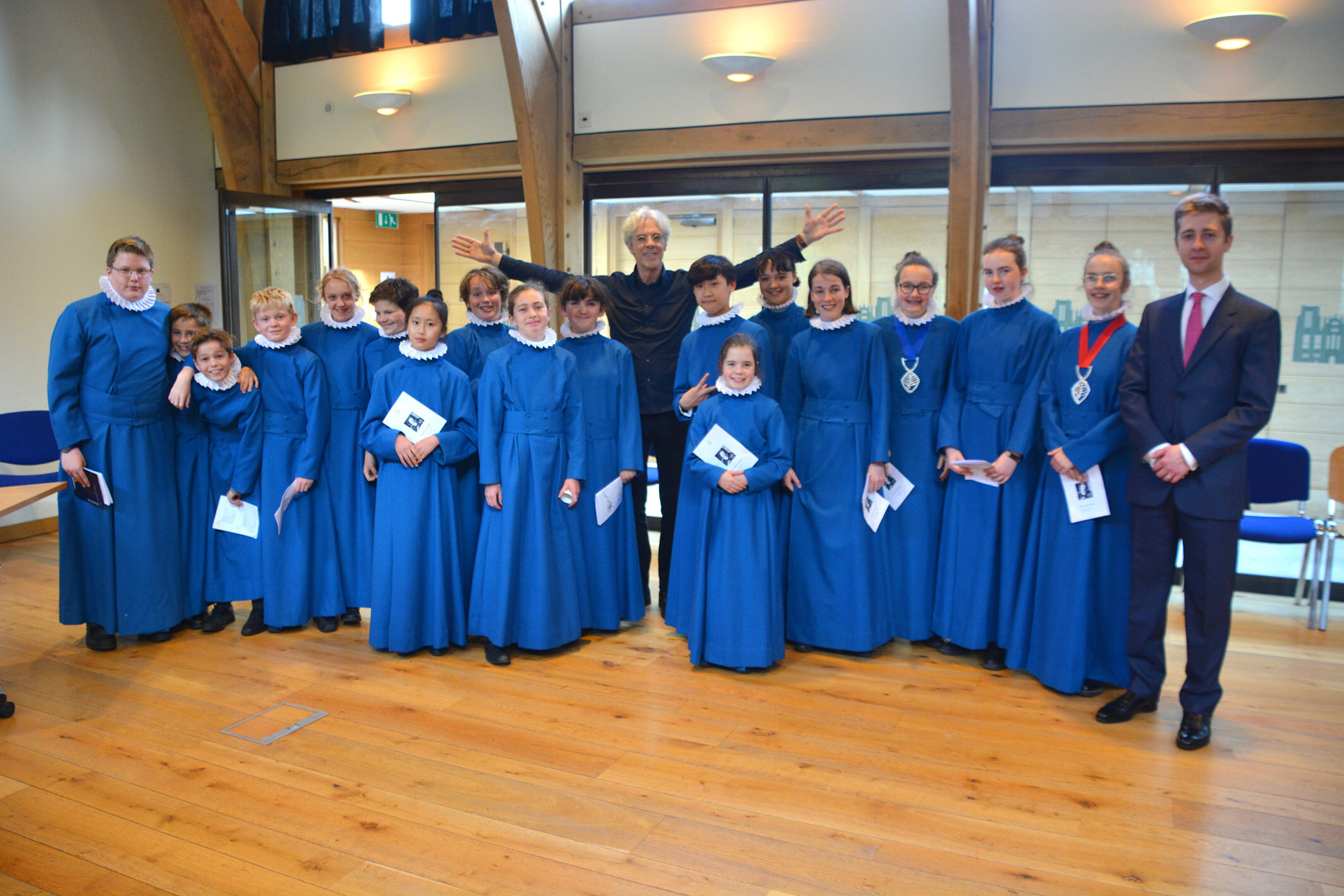 Stewart Copeland (centre) with the choristers and Mr Cole