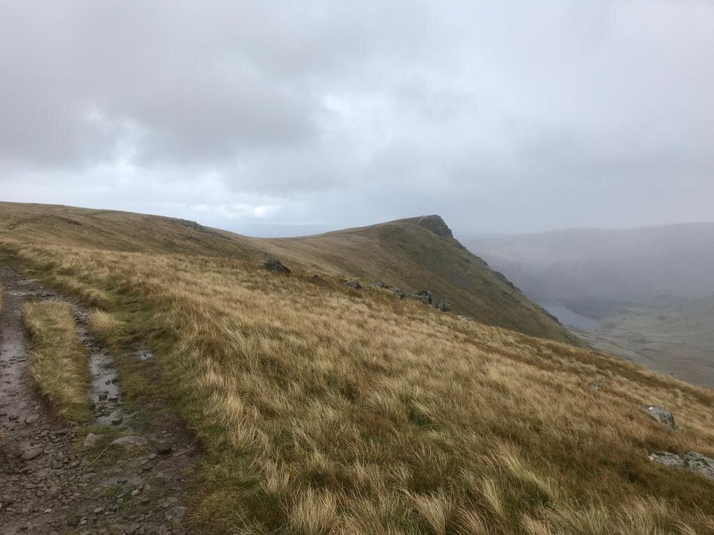 There it is, the highest point on the Coast-to-Coast Path, Kidsty Pike. Notice the rain again!