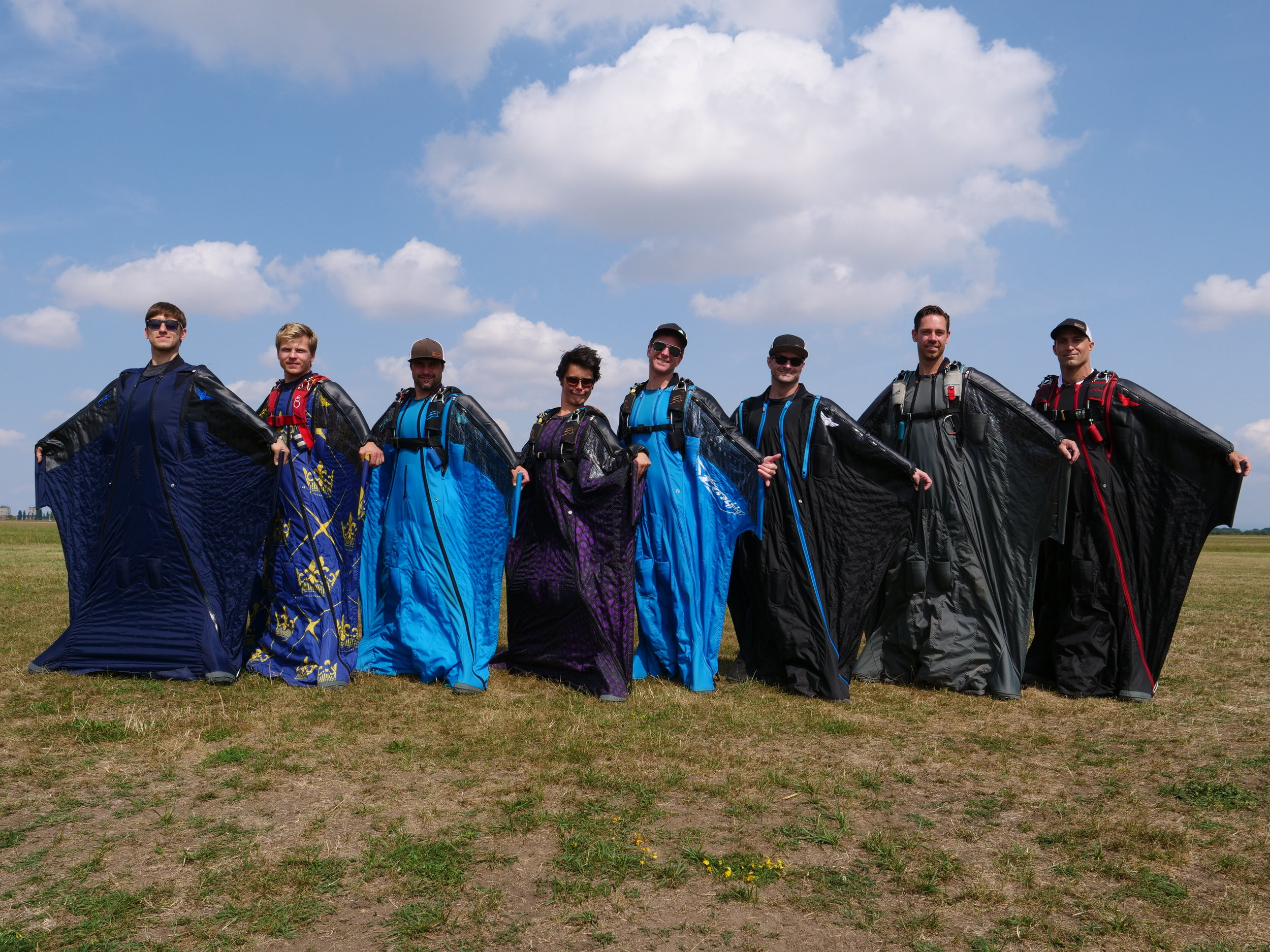 Eight of the top ten flew Squirrel Wingsuits  Pictured (L to R): Alexey Galda, Ola  Johansson, Luke Rogers, Amber Forte, Espen Fadnes, Joe Ridler, Aleksei Shatilov, Chris Geiler.