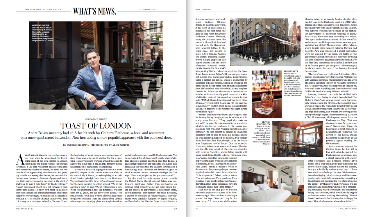 Earlier in the summer I spent an enjoyable morning photographing André Balazs the hotelier behind the prestigious Chiltern Firehouse in his new pub next door. More images from the shoot can be seen on my  website