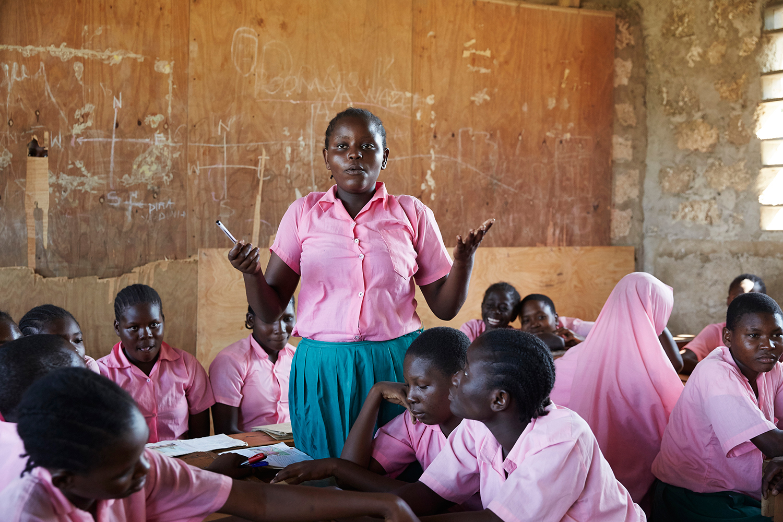 Member of the children's forum shares her opinion in a girls meeting. Marimani Pre-School. Mwakirunge, Mombasa. June 2016