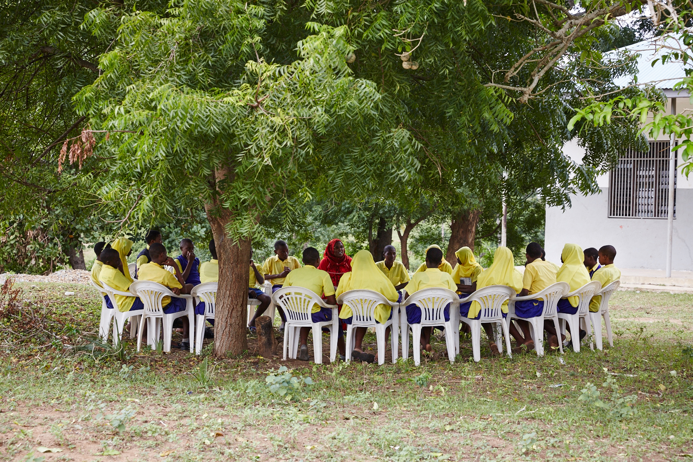 Girls and boys attend a children's forum meeting. Mwakirunge, Mombasa. June 2016