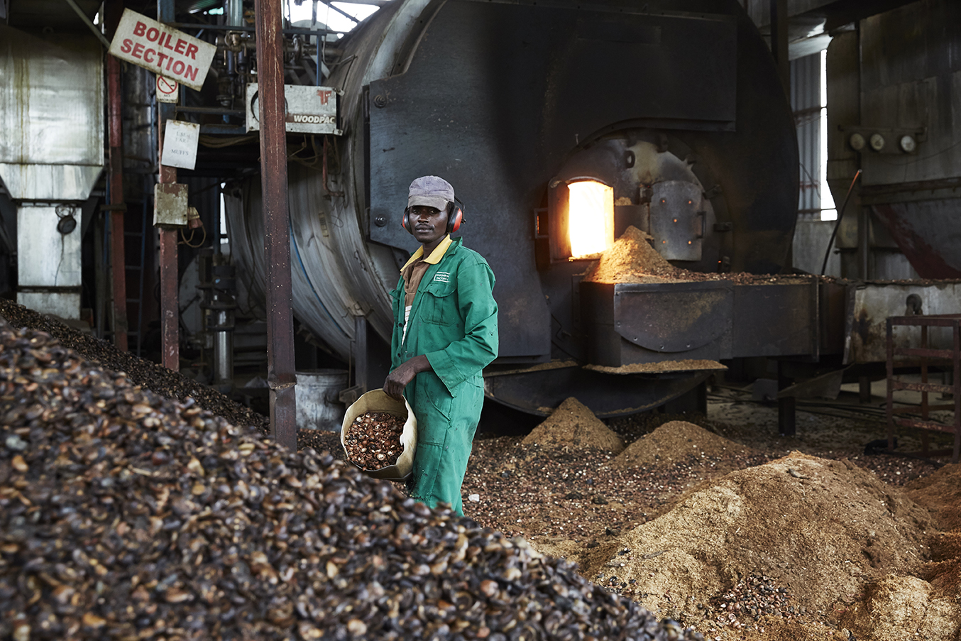 A factory worker fuels the boilers with green fuel.  Makomboki Tea Factory in Kenya has taken climate change mitigation measures to reduce the amount of firewood used to fuel the boilers. It now uses cheaper greener fuel made from biomass briquettes along with sawdust and cashew and macadamia nut husks.