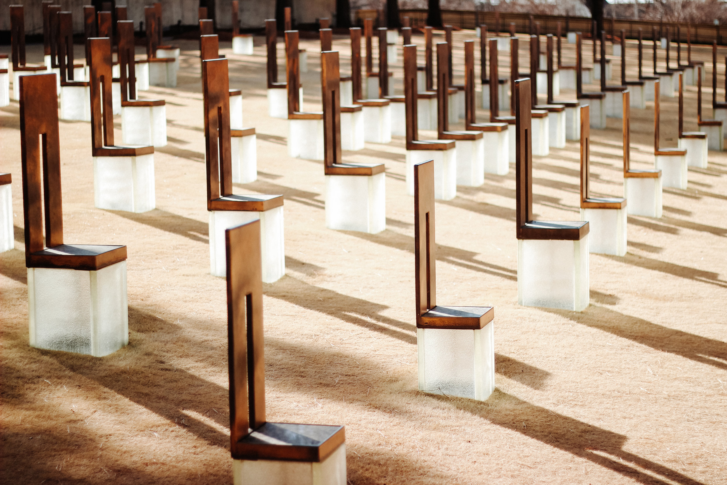 Each of the 168 chairs at the Oklahoma City National Memorial represents a person who was killed in the 1995 Oklahoma City bombing.